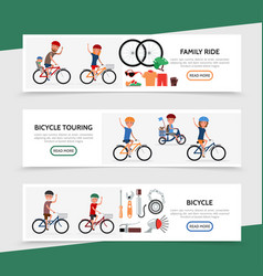 Flat bicycle colorful horizontal banners vector