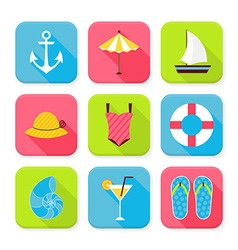 Flat Summer Holidays and Resort Squared App Icons vector