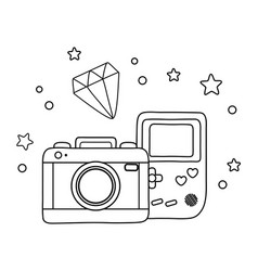 game boy camera and diamond black and white vector image