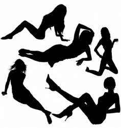 Girl silhouettes vector
