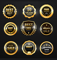 gold badge label and stamp seal 3d icons vector image