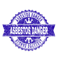grunge textured asbestos danger stamp seal with vector image
