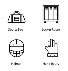 Gym equipment line icons pack vector