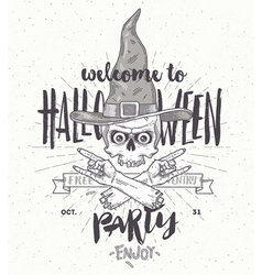 halloween poster with zombie head in witch hat vector image