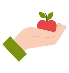 hand with apple icon vector image