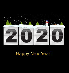 happy new year card with snowman vector image