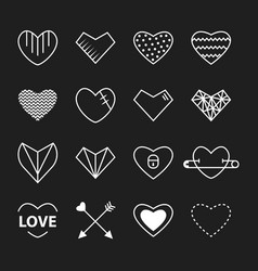 heart outline white color set vector image