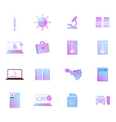 icons set syringe hpv virus cell and microscope vector image