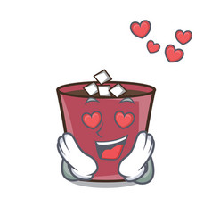 in love hot chocolate mascot cartoon vector image