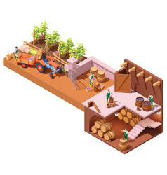 isometric winery and wine making vector image