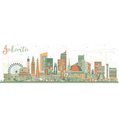 Jakarta indonesia city skyline with color vector