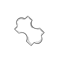 jig saw puzzle piece hand drawn outline doodle vector image