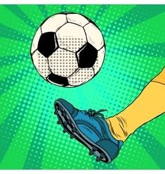 Kick a soccer ball vector