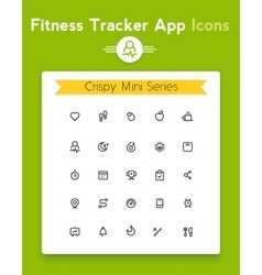 Line fitness and sport tracker app icon set vector