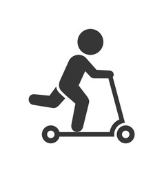 Man on kick scooter icon vector