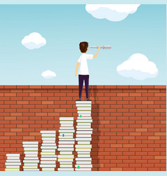 Man stands on a stack books above a brick wall vector