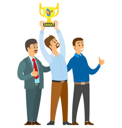 men standing near winner with cup target achieved vector image