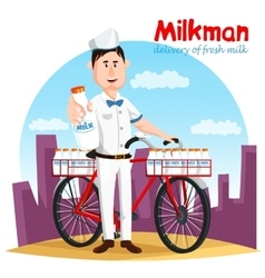 Milkman and his bicycle transport for milk bottle vector image