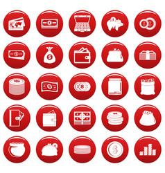 Money icons set vetor red vector