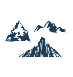 mountains silhouettes black color on white vector image