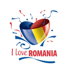 National flag romania in shape a vector