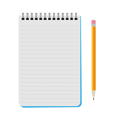 notebook with a yellow pencil vector image