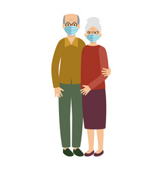 old married couple wearing protective medical vector image