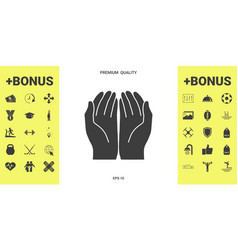 Open hands icon vector