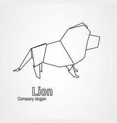 Origami Logo Contour Lion Vector
