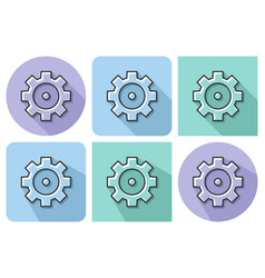 outlined icon of cogwheel with parallel and not vector image