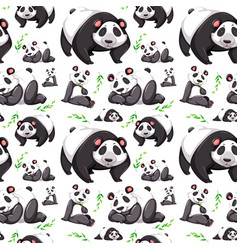 panda bear seamless background vector image
