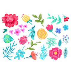 Pencil drawn flowers on white background pattern vector