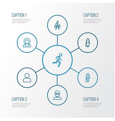 People outline icons set collection of profile vector