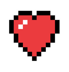 Pixel art red heart love and valentine symbol vector