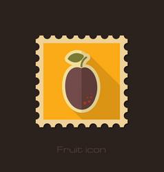 Plum flat stamp fruit vector
