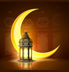 Ramadan kareem lantern realistic moon vector