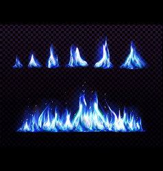 Realistic blue fire set for animation torch flame vector