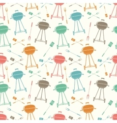 Retro BBQ grill seamless pattern vector