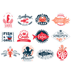 seafood creative emblems collection vector image