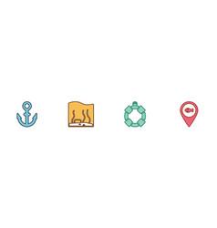 Set anchor aquarium lifebuoy and location vector
