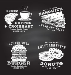 set fast food retro badge design vector image