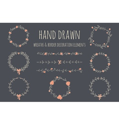 set hand drawn wreaths and borders vector image
