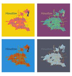 Set of flat map houston city texas roads vector