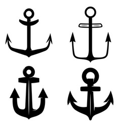 Set of icons of the anchor isolated on white vector