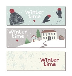 Set of three website horizontal winter banners vector