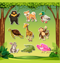 set of wild animals sticker vector image