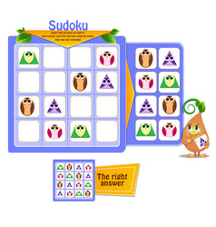 shapes game sudoku owl vector image