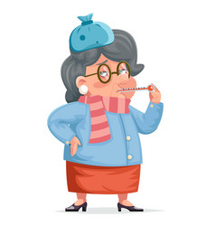 sick grandmother flu woman granny character adult vector image
