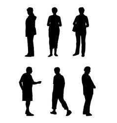 Silhouettes elderly people vector