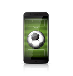 smatrphone with soccer ball vector image